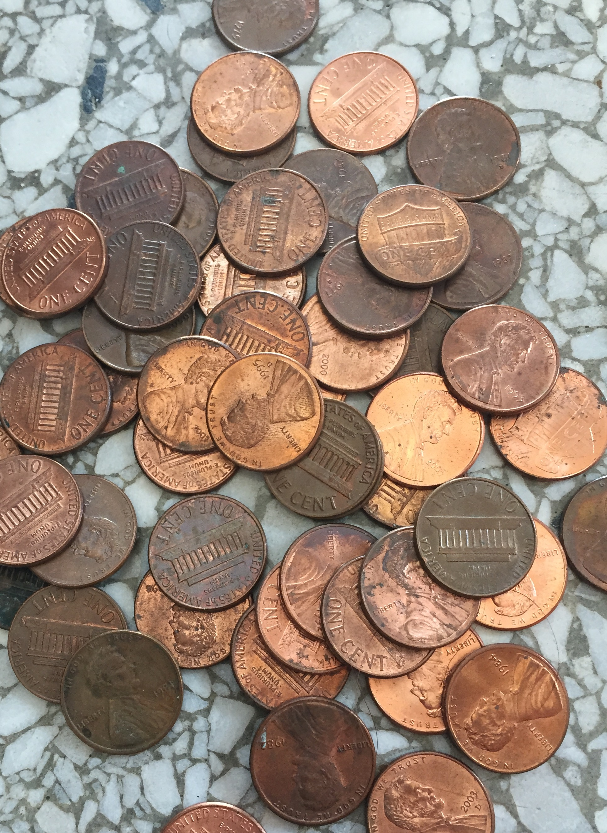 Pennies up close
